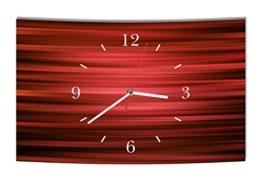 LAUTLOSE Designer Wanduhr Abstrakt rot schwarz modern Dekoschild Abstrakt Bild 38 x 25cm - 1