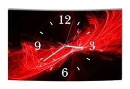 LAUTLOSE Designer Wanduhr Abstrakt schwarz rot modern Dekoschild Abstrakt Bild 39 x 25cm - 1