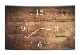 LAUTLOSE Designer Wanduhr Holz Optik braun bretter rustikal modern Dekoschild Abstrakt Bild 39 x 25cm - 1