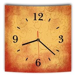 LAUTLOSE Designer Wanduhr mit Spruch Orange Rot Muster grau weiß modern Dekoschild Abstrakt Bild 29,5 x 28cm - 1