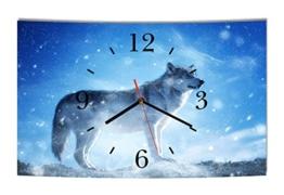 LAUTLOSE Designer Wanduhr Wolf blau weiß modern Dekoschild Abstrakt Bild 39 x 25cm - 1