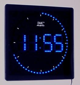 LED - Wanduhr mit blauen Zahlen + runde Sekundenanzeige - LED-Uhr - 1