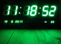 LED - Wanduhr mit Zahlen grün rechteckig digital Uhr Datum Temperatur Multi S - 1