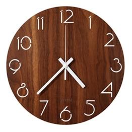 LENRUS 12 Zoll/30CM Hölzern Wanduhr Küchenuhr Nicht-tickende Uhr für die Küche Home Office Wohnzimmer und Schlafzimmer (Dunkelbraun) - 1