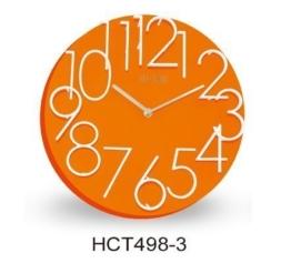 Neuheit 3 D Design 31,5 cm Modern Wanduhr 498-3 orange rund - 1