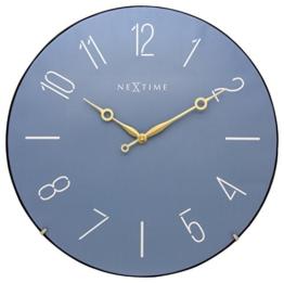 """NeXtime große Wanduhr """"TRENDY DOME"""", lautlos, rund, Blau, ø 35,6 cm - 1"""