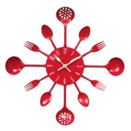 Premier Housewares Wanduhr Besteck, 43 cm Durchmesser, rot - 1