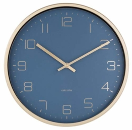 Present Time - Wall Clock Gold Elegance - Blue -Metall/lackiert - Ø 30cm, H. 4cm - Excl. 1 AA Batterie - 1