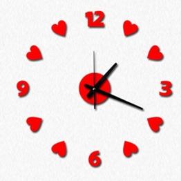 QHGstore Liebes Herz Zahl Wand Taktgeber DIY Acryl Wand Aufkleber Uhren Home Decor Clock rot - 1