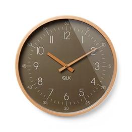 QLK Wanduhr Braun geräuscharm, Slight, lautlose & Moderne Design Uhr mit Holzrahmen und Zeigern, Ø31 cm (Braun) - 1