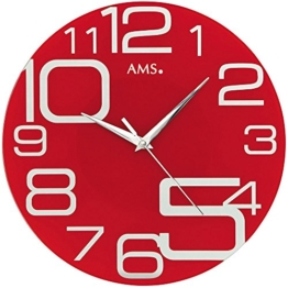 Quarzuhr - Wanduhr - AMS Quarz analog rot rund modern - 1