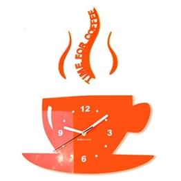 TASSE Time for Coffee Moderne Küche (Zeit für Kaffee) Wanduhr, orange, 3d römisch, wanduhr deko - 1
