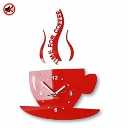 TASSE Time for coffee (Zeit für Kaffee) Moderne Küche Wanduhr rot, 3d römisch, wanduhr deko - 1