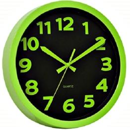 Technoline WT 7420 Moderne, auffällig schrille Wanduhr mit Kunststoffrahmen, Ø 25,5 cm, hell-grün, Plastik, 25,5 x 4 x 25,5 cm - 1