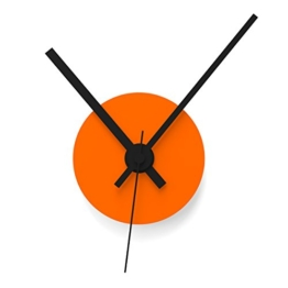 """Wandkings Wanduhr SOLO CLOCK """"Scheibe"""" mit Uhrwerk & Uhrzeigern - in 13 Farben erhältlich (Farbe: Uhr=Orange glänzend, Zeiger=Schwarz) - 1"""