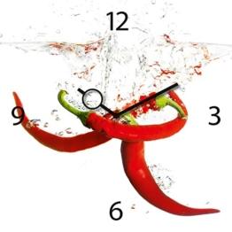 Wanduhr aus Glas für die Küche, Splashing Chili Pepper, Pepperoni im Wasser, 30x30 cm von Eurographics - 1