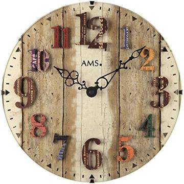 AMS 9423 Wanduhr Quarzuhr Bunte arabische Zahlen Dekouhr Holz-Optik Runde Form - 1