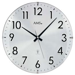 AMS Unisex Wanduhren Analog Funk Mineralglas Silber 5973 - 1