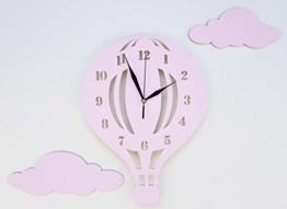 BABEES Kinder Wanduhr Ballon mit Wolken, Uhr ohne Tickgeräusche, Kinderuhr Heißluftballon für Kinderzimmer, Lautlos Uhrwerk, Wanddeko Scandi Deko Mädchen rosa pink - 1