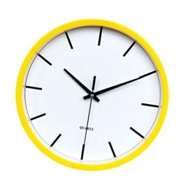D DOLITY 12 '' Einfache Wanduhr Bürouhr Uhr, Geräuschlos - Gelb - 1