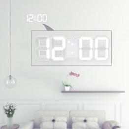 Decdeal LED Wanduhr Tischuhr Digital Wecker mit weißer LED Anzeige Helligkeit Einstellbar - 1