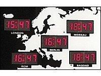 Digitale Weltzeit Uhr mit 24 Weltstädten - Alle Uhrzeiten der Welt auf einen Blick! - 1
