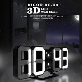 DIGOO 3D LED Digital Wecker, Multifunktions Digital Wecker, Dekorative Wanduhr, DREI Einstellbare Helligkeit, Snooze-Funktion, 12/24 Stunden-Anzeige, Einfaches Design, Fernbedienung Optional - 1