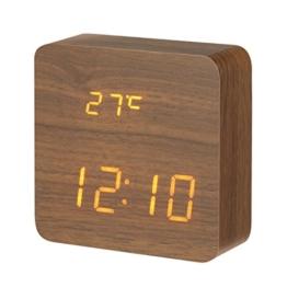 DIGOO Holz LED Digital Wecker mit 3 Gruppen Alarm Einstellung, Temperatur Zeit und Datum Display, 3 Einstellbare Helligkeit, Sprachsteuerung, 2 Modi Display - 1