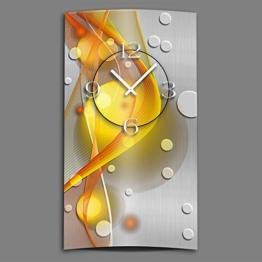 DIXTIME Abstrakt gelb orange hochkant Designer Wanduhr modernes Wanduhren Design leise kein Ticken 3D-0049 - 1