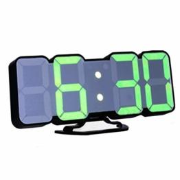 EAAGD 3D drahtlos fernbedienbare Digital Wecker & Wanduhr– LED Zahlen mit 115 wechselbare Farben, Sprachbedienungs-modus, 3-stufige einstellbare Helligkeit, mit Ferbedienung (Schwarz) - 1