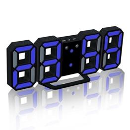 EAAGD Digital-LED-Wecker & Wanduhr, automatisch LED Helligkeit einstellen (schwarz/blau) - 1