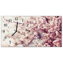 Glasuhr von DekoGlas 60x30cm waagerecht Bilderuhr aus Acrylglas mit lautlosem Quarzuhrwerk Dekouhr Glaswanduhr Uhr aus PMMA Wanduhren Küchenuhr Wanddekoration Glasbilder Blühenden Baum Rosa - 1