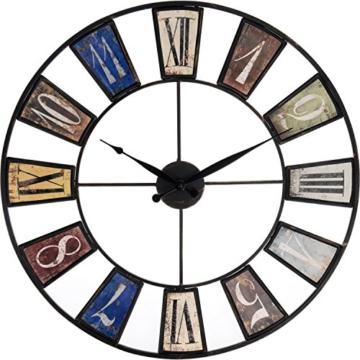 Große Wohnzimmer Wanduhr XXL Metall Ø 60cm Riesen Vintage Uhr für die Wand (Ø60cm Metall) - 1