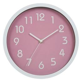 Jinberry Lautlos Analog Minimalistisch Rund Wanduhr / 10 Zoll (25cm) Modern Nicht-tickende Wand Uhr - Rosa - 1