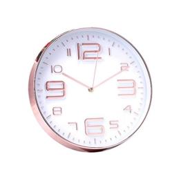 Jinberry Modern Design Lautlos Analog Minimalistisch Rund Wanduhr mit Dünne Uhrrahmen / 12 Zoll (30cm) Groß Elegant Nicht-tickende Quarz Wand Uhr für Wohnzimmer Esszimmer or Küche - Rosegold (Arabische Ziffern 02) - 1
