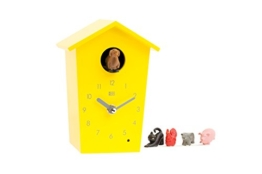 KOOKOO AnimalHouse Gelb Kuckucksuhr Wanduhr mit 5 Bauernhoftieren Aufnahmen aus der Natur Moderne witzige Design Uhr - 1