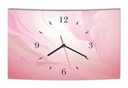 LAUTLOSE Designer Wanduhr Abstrakt rosa modern Dekoschild Abstrakt Bild 38 x 25cm - 1