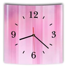 LAUTLOSE Designer Wanduhr mit Spruch Rosa Pink gestreift grau weiß modern Dekoschild Abstrakt Bild 29,5 x 28cm - 1