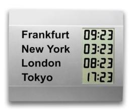 LCD-Weltzeituhr CW 600 M mit 4 Uhrzeiten, mit Aluminiumrahmen, Silbermetallic - 1