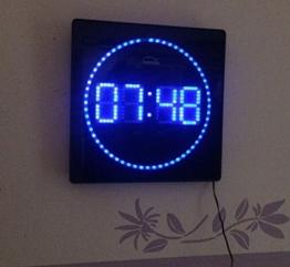 LED digitale Wanduhr mit Temperatur Alarm und Uhrzeit 32 x 32 cm (blau) - 1