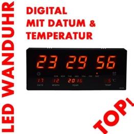 LED Uhr Led Wanduhr mit Datum und Temperatur Anzeige Digital, geeignet für Büro, Bar, Cafe uvm NEU! Noyan® (Rot) - 1