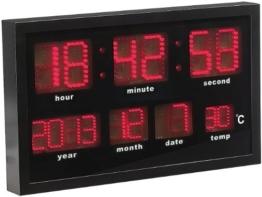 Lunartec LED Funkuhr: Multi-LED-Funk-Uhr mit Datum und Temperatur, 412 rote LEDs (Wanduhr LED) - 1