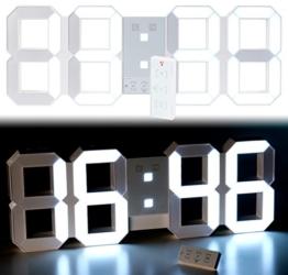 Lunartec LED Uhr Schlafzimmer: Digitale XXL-LED-Tisch- & Wanduhr, 45 cm, dimmbar, Wecker, Fernbedien. (XXL Uhr) - 1