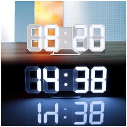 Lunartec LED Wanduhr 3D: Große Digital-LED-Tisch- & Wanduhr, 7 Segmente, dimmbar, Wecker, 21 cm (Jumbo LED Uhr) - 1