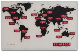 "NeXtime digitale Weltzeituhr""WORLD TIME DIGIT"", Glas + Aluminium, 55 x 36 cm - 1"