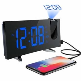 Projektionswecker, (Deluxe Version) PICTEK Wecker, Radiowecker/Digital Wecker/Uhrenradio/Tischuhr/Großes LED-Display /Randlos Kurve/Dimmer/Dual-Alarm/Snooze/Timer (12/24-Stunden,USB-Anschluss,120°Dreh-Projektor,180°Flip-Anzeige) - 1