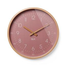 QLK Wanduhr Rosa geräuscharm, Slight, lautlose & Moderne Design Uhr mit Holzrahmen und Zeigern, Ø31 cm (Altrose) - 1