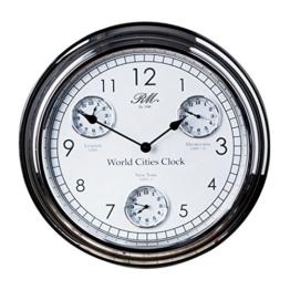 Riviera Maison - Uhr, Wanduhr, Weltzeituhr - World Cities - Clock - Silber - Ø: 51 cm - 1