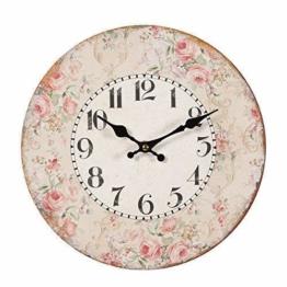 Romantische Landhaus Wanduhr mit Rosenblüten Rand, Rustikale Rosen Uhr - 1