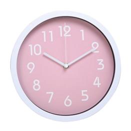 Sharplace 10 Zoll Wanduhr Quarz Ohne Tickgeräusche Küchenuhr, aus Kunstoff - Rosa - 1